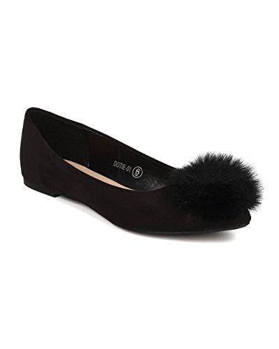 Toe Round Flat GI42 Pom Suede Women Pom Ballerina by Flat Flat Alrisco Fuzzy Ballet Black Faux wqFEa4R5