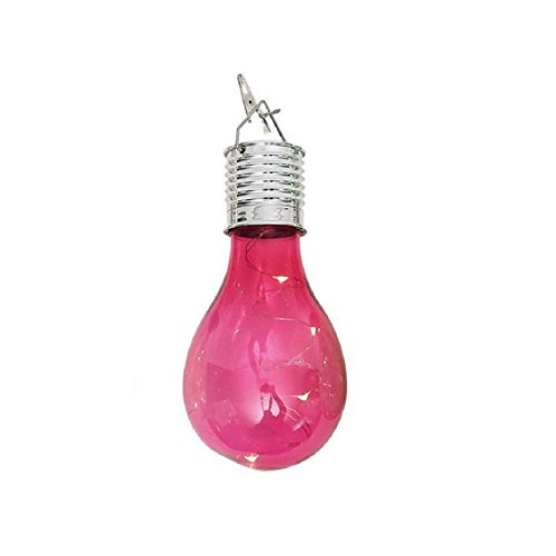 Waterproof Solar Rotatable Outdoor Garden Camping Hanging LED Light Lamp Bulb Mchoice (Hot Pink)