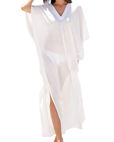 (BBYES Women's Sheer Maxi Long Kimono Cardigan Robe Maxi Bikini Swimsuit Cover up White S)