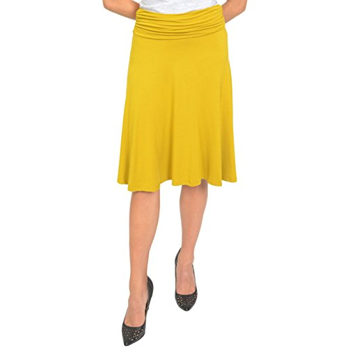 Stretch is Comfort Women's Ruched Waistband Flowy Skirt Mustard Yellow 3X -
