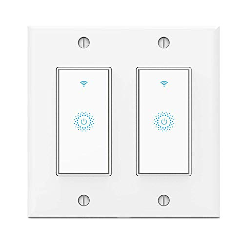 (Wifi Smart Light Switch,Work with Alexa,Google Home, Wireless control,Need White Neutral Wire No hub,2 Gang )