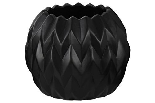 Urban Trends Ceramic Round Low Vase with Uneven Lip and Embossed Wave Design, Large, Matte Black