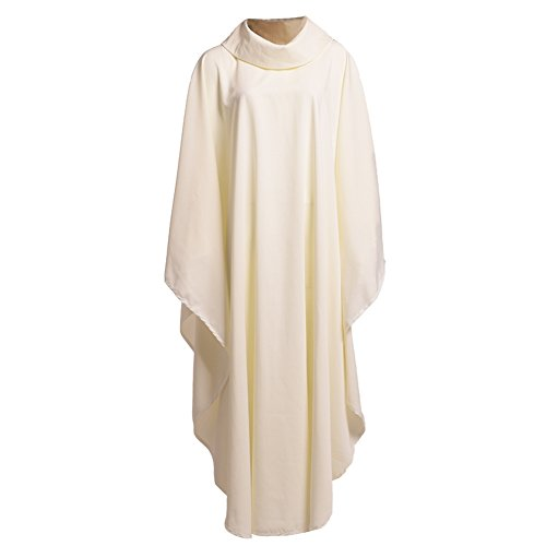 Liturgical Vestments (BLESSUME Church Priests Solid Chasuble Mass Vestments (White-Cowl Collar))