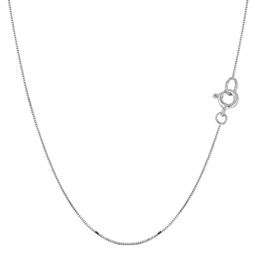 14k White Solid Gold Mirror Box Chain Necklace, 0.45mm, 18
