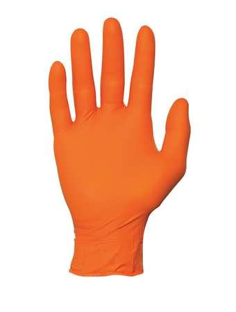Disposable Gloves, Nitrile, L, Orange, PK100
