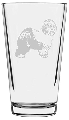 Old English Sheepdog Dog Themed Etched All Purpose 16oz Libbey Pint Glass