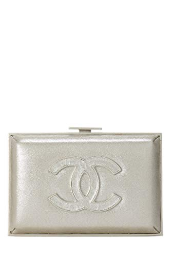CHANEL Iridescent Silver Fabric Evening Wild Minaudiere (Pre-Owned)