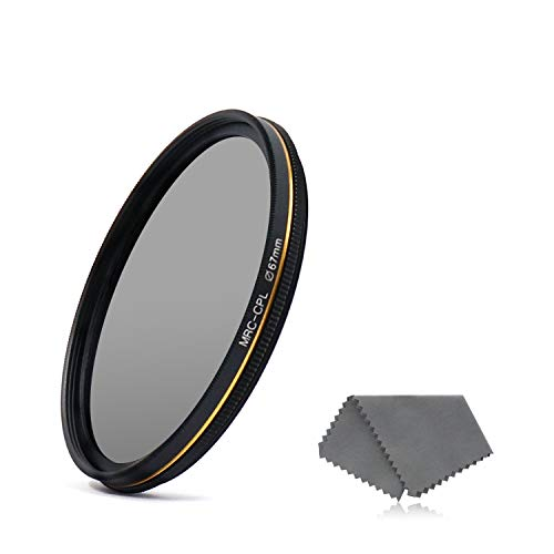 LENSKINS 67mm CPL Circular Polarizing Filter Camera Lenses, German Optics Glass, Ultra Slim, Weather-Sealed, 16-Layer Multi-Resistant Nano Coated Circular Polarizer HD Glass Filter Lens Cloth