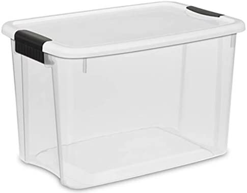 30 Quart//28 Liter Ultra Latch Box Sterilite 19859806 Clear with a White Lid
