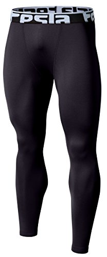 TSLA Men's Thermal Wintergear Compression Baselayer Pants Leggings Tights, Thermal Skin(yup21) - Black, Large
