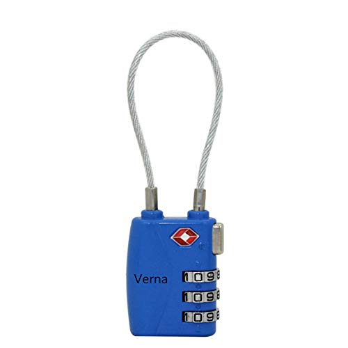Candado de cerradura de Verna Bazaar Master Lock con cable de acero retráctil de 5 cm, varios colores, Azul