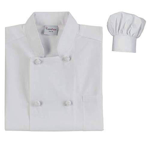Chefs Pride Unisex Chef Coat & Hat Double Breasted with Knotted Buttons (x-Large, White) from Chefs Pride