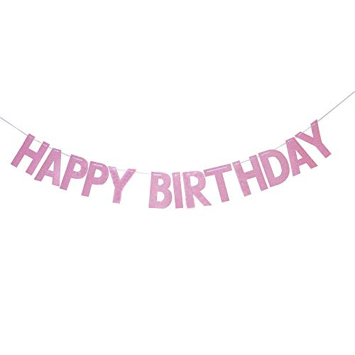 Pink Happy Birthday Banner, 1st Birthday, Girls Birthday, Princess Theme Birthday Party Supplies Decorations, DIY Assemble, -