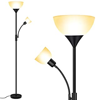 Floor Lamp - Standing Lamp, 9W LED Torchiere Floor Lamp + 4W Adjustable Reading Lamp, 3000K Energy-Saving LED Bulbs, 3-Way Switch, >50,000hrs Lifespan, Floor Lamps for Bedroom, Living Room, Office