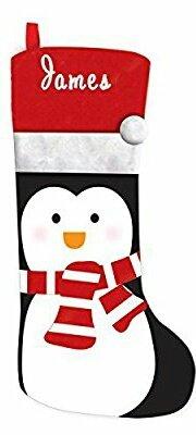 Calcetines de Navidad con bordado personalizado con nombre, Penguin Christmas Stocking, Large