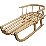 Wooden Sledge with removable Back Rest Toboggan sledge with Pulling Rope