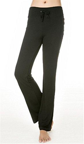 Hippolo con yoga XXL corsa della pantaloni donna da Black Nero per a dritta jogging gamba nero coulisse tuta rPSr8xwq