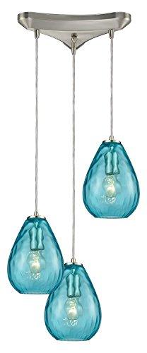 - Lagoon 3-Light Triangle Pan in Satin Nickel with Aqua Water Glass Pendant