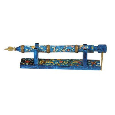 (Yair Emanuel Hand Painted Wooden Yad - Torah Pointer With Stand Oriental Design (TP-2))
