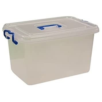 Charming Small / Large Heavy Duty Clear Plastic Storage Box / Container With Lid  Lock (20