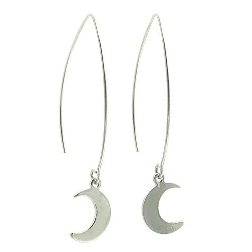 (Waxing and Waning Crescent Moon Threader Charm Earrings in Silver Tone and Stainless)