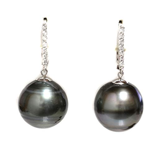 Tahitian South Sea Pearl Diamond Dangle Earrings 15 MM Black 14k White Gold