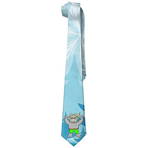 GLSEY Hippo Learning To Swim Men's Fashion Colorful Silk Ties by GLSEY