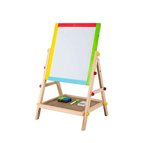 Chalkboard Double Sided Reversible (Kinbor 2 Sided Standing Easel for Kids Wooden Whiteboard & Chalkboard with Bonus Chalks, Marking Pen and Erasers for Chilbren and Tollders)