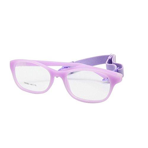 EnzoDate Children Optical Glasses Frame Size48 One-piece Kids Glasses No Screw Flexible Girls Boys Glasses(purple) ()