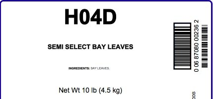 Bay Leaves, Semi Select - 10 Lb Bag / Box Each