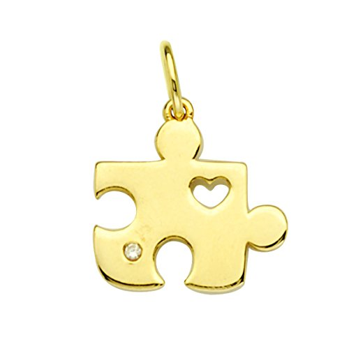 14k Yellow Gold Puzzle Pendant Charm with Heart and Genuine Diamond Accent