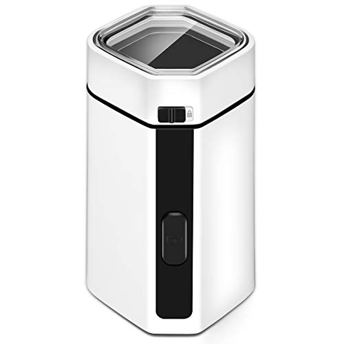 Coffee Grinder Electric, CUSIBOX Multifunctional Stainless Steel Blade Coffee Grinder Fast Grinding Coffee Beans, Nuts, Grains, Spices (Sliver) (White) by CUSIBOX