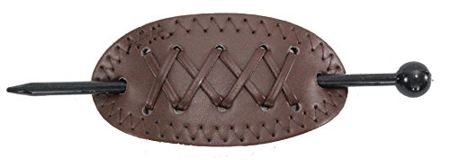 Violet & Virtue Women's Faux Leather Criss-Cross Stitch Slide Barrette Hair Pin, One Size (Brown) (Faux Cross Stitch)