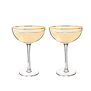 Personalized Gold Rim Crystal Coupe Champagne & Cocktail Glasses - 8 oz - Set of 2