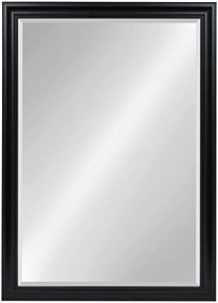 Kate and Laurel Dalat Framed Beveled Wall Mirror, 28×40, Black