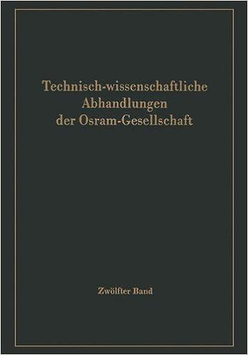 Book Technisch-wissenschaftliche Abhandlungen der Osram-Gesellschaft