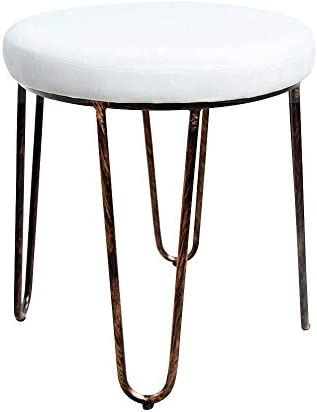 CANDIKO White Velvet Vanity Makeup Stool Chair