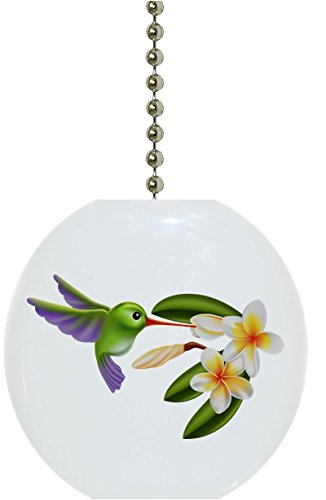 Hummingbird and Flowers Solid Ceramic Fan Pull ()