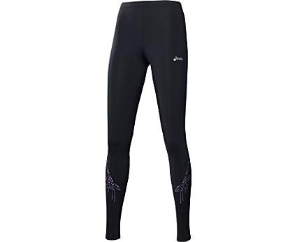 ad61d200838f8f Asics Tiger Stripe Womens Long Running Tights - Black: Amazon.co.uk ...
