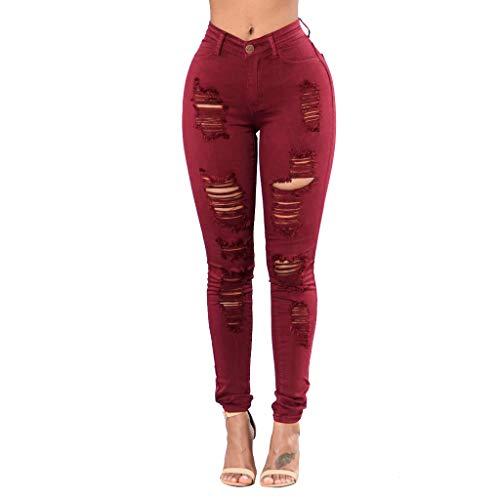 TIMEMEANS Women High Waist Button Pockets Holes Denim Skinny Long Jeans Pants Trousers