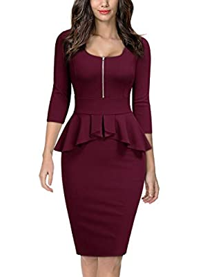 Miusol Women's Business Ruffle Style Square Neck Work Pencil Dress
