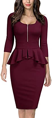 Miusol Women's Square Neck Business Peplum Fitted Casual Bodycon D