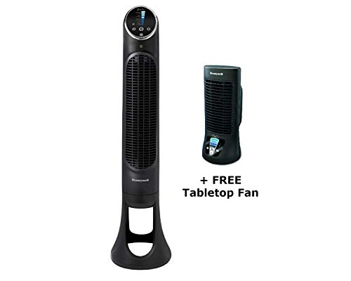Honeywell Tower Fan 8 Speed Quietset Oscillating Machine with Remote in Slim 33 Inch Black Free Tabletop Fan