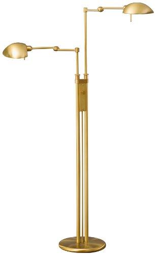 Halogen Pharmacy Floor Lamp - Holtkoetter 2505 AB Halogen Double Pharmacy Floor Lamp, Antique Brass