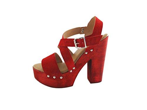 SilferShoes - Made In Italy - Zoccolo in vero legno e pelle di camoscio,con soletto imbottito in vera pelle, colore Rosso