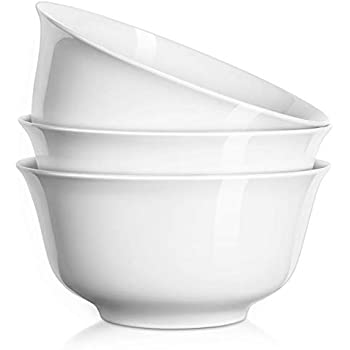DOWAN 7 Inches, 36 oz Porcelain Deep Bowl Set for Soup, Salad, Ramen, Cereal, Set of 3, White