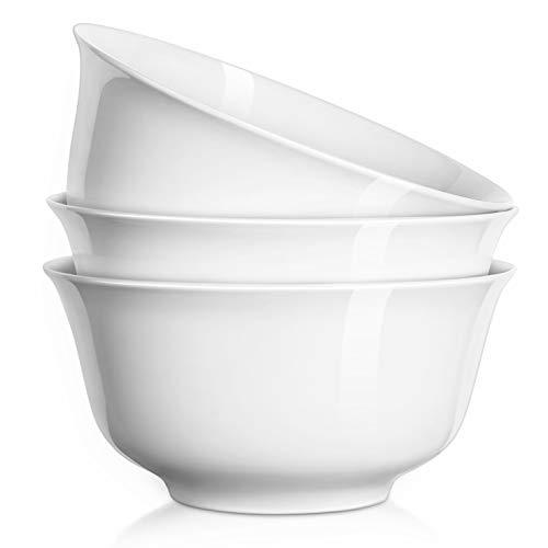 DOWAN 7 Inches Porcelain Deep Bowl Set for Soup, Salad, Ramen, Set of 3, White