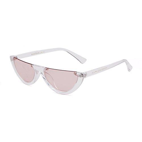 Clout Goggles Cat Eye Sunglasses Vintage Mod Style Retro Kurt Cobain Sunglasses (Transparent/Pink, 50)