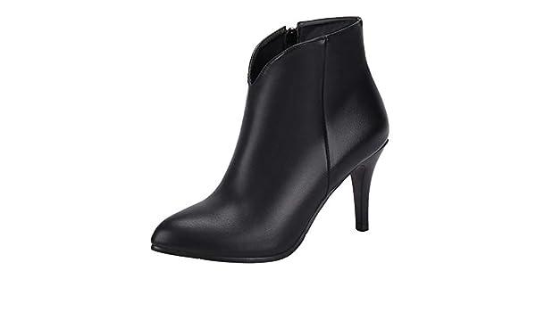 COOLCEPT Mujer Clásico Cremallera Botas Cortas Tacón Ancho Vestido Botines Black Size 32 Asian: Amazon.es: Zapatos y complementos