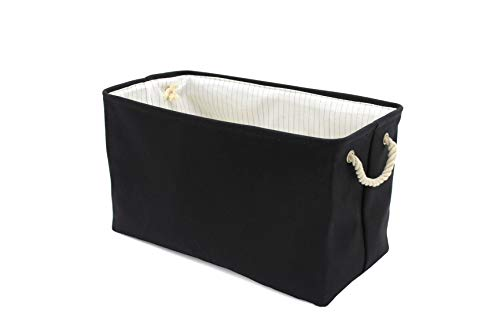 Handcrafted4Home Large Collapsible, Waterproof Canvas Laundry Hamper/Bin/Basket (Black, Rectangular 22x11x13)